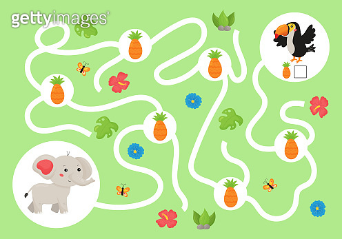 Help the elephant collect all pineapples for his friend toucan bird.