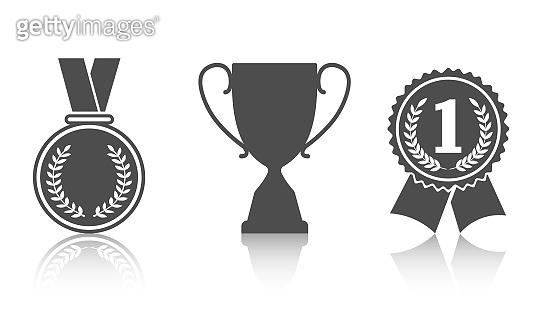 Trophy and award icons in flat style. Vector graphics on a white background.