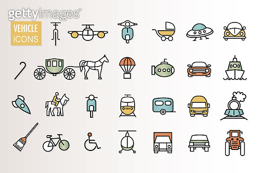 Vehicle and transportation icon collection