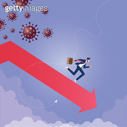 Coronavirus economy impact concept-Economy down and fall