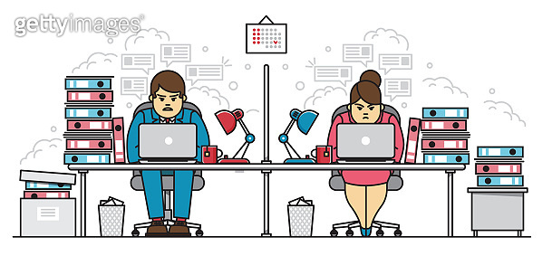 Hard working employees in office flat line character business vector illustration concept