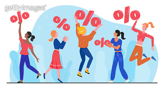 Discount sale offer concept flat vector illustration, cartoon happy woman characters jumping with percent discount symbol, enjoy retail sales in store, shop or boutique