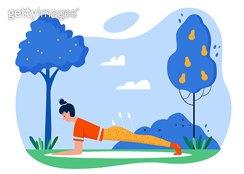 Yoga practice sport activity flat vector illustration, cartoon active girl character practicing yoga asana exercises in summer outdoor park garden isolated on white