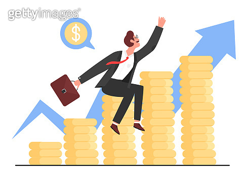 Business success, profit growth vector illustration, cartoon flat businessman sitting on stacks of gold money coins next to zigzag arrow growing up