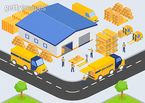 Isometric warehouse company. Loading and unloading process from warehouse. Storage building, trucks, people workers, transportation industry, delivery and logistic vector illustration.