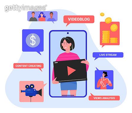 Videoblog vlog concept vector illustration, cartoon flat videoblogger streamer woman character presents creative video content or stream on smartphone screen