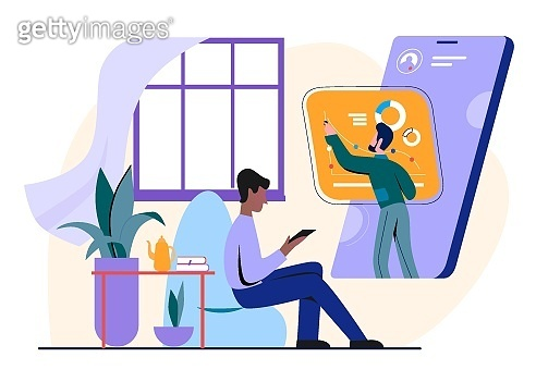 People study online vector illustration. Cartoon flat man student character studying on training course, watching lesson on smartphone screen, distance education technology concept isolated on white