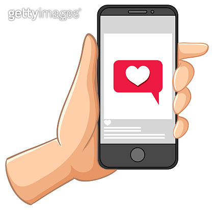 Smart phone with social media heart icon isolated on white background