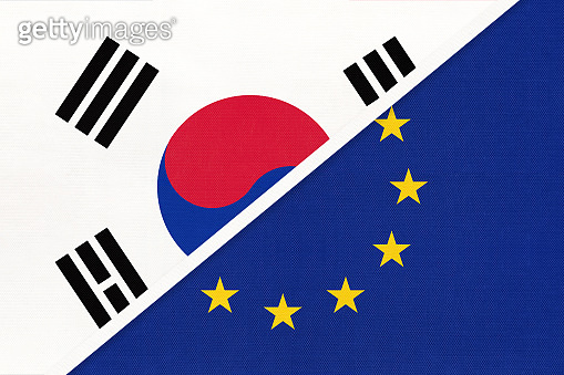 South Korea and European Union or EU, symbol of national flags from textile. Championship between two countries.