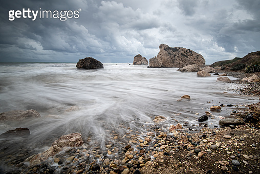 Seascape with windy waves during stormy weather on a rocky coastline