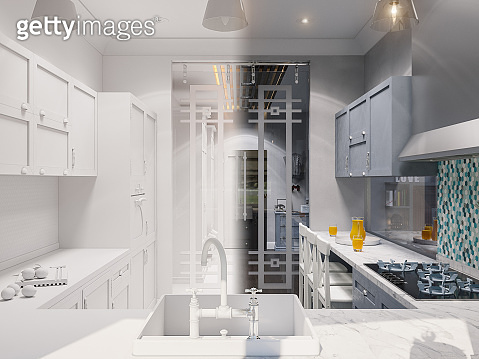 3d illustration of the interior design of the kitchen