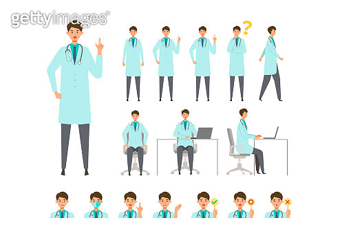 Set of doctor man in lab coat in different poses. Working, standing, pointing and sitting.