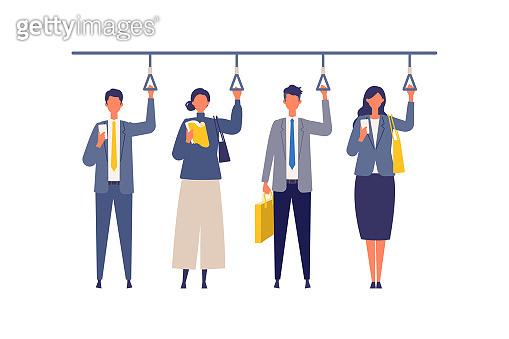 Commute of working businessmen. Flat design vector illustration of business people.