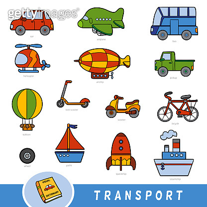 Colour transport set, collection of vector items with names in English. Cartoon visual dictionary