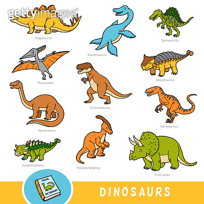 Set of dinosaurs, collection of vector animals with names in English. Cartoon visual dictionary for children