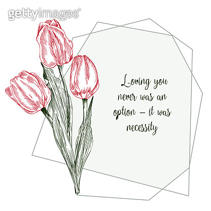 Greeting card with Spring flower bouquet of tulips in red and green colors on gray background. Line engraving drawing Vintage style. Realistic botanical nature floral sketch pattern