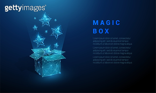 Abstract open gift box and flying blue stars