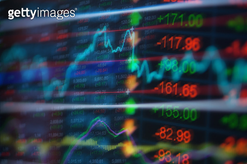 Stock market data on LED display concept.
