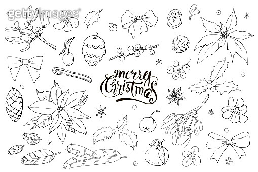 Collection of christmas festive colorless black and white doodles. Vector set. Black and white. Colorless.