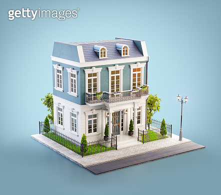 Unusual 3d illustration of a beautiful house with