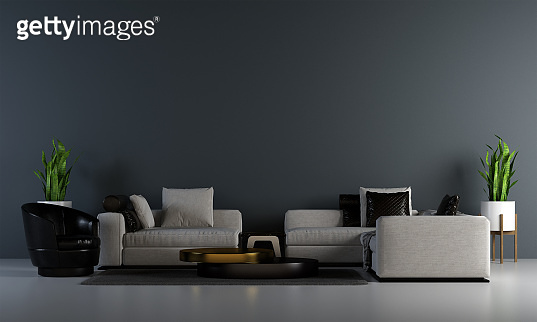 Modern interior mock up design of black living room and wall background and lighting feature