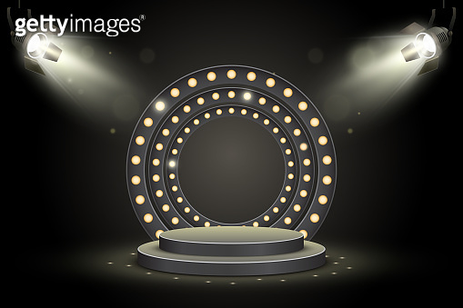 Podium with spotlights on dark background