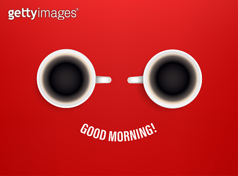 Good morning vector concept with coffee cups