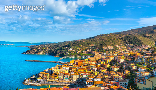 Porto Santo Stefano village, harbor view. Argentario, Tuscany, Italy