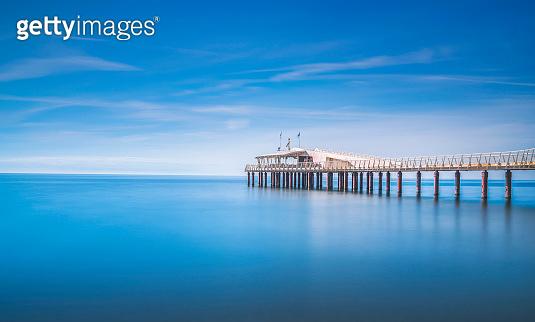 Pier or jetty, beach and sea. Lido di Camaiore, Versilia Tuscany Italy