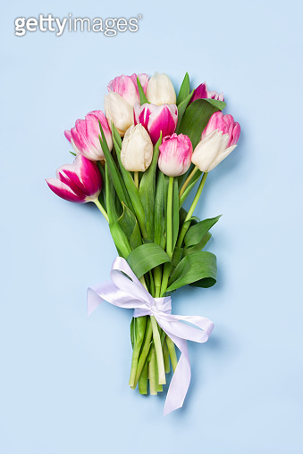 Attractive bouquet of tulips