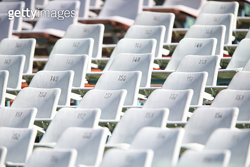 Empty chairs in a stadium