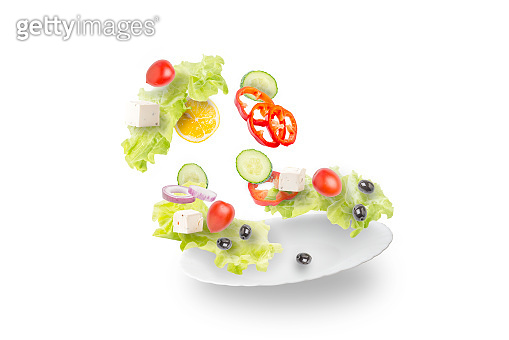 Fresh vegetable salad on a white background.