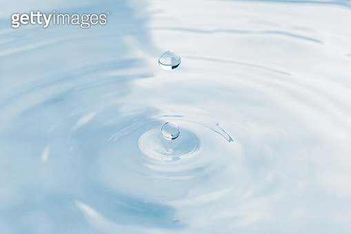 Water drop and splash background, small impact causes big changes. Ripple, macro wave on surface of liquid