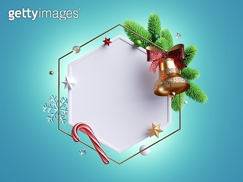 3d render, Christmas background with blank round frame. Spruce wreath decorated with golden bell, glass balls and festive ornaments, isolated on blue