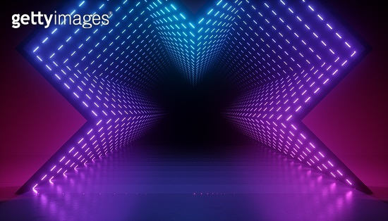 3d render, abstract neon background, glowing pink blue led light inside the tunnel, geometric shape with optical illusion perspective view. Modern minimal design, empty stage floor reflection