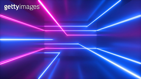 3d render, abstract geometric background, pink blue neon light, chaotic glowing lines, vibrant laser rays inside dark empty room. Futuristic technology