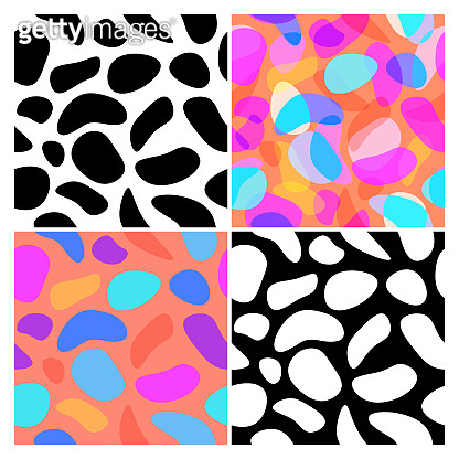 Set of blob seamless pattern background. Fluid blot design for wallpaper, printing products, or textiles