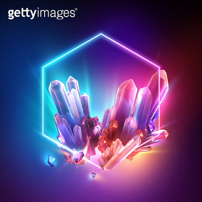 3d render, abstract colorful neon background with crystals inside the hexagonal frame. Esoteric wallpaper