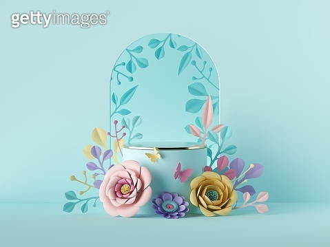 3d render, abstract blue botanical background with colorful paper flowers. Blank commercial poster mockup. Festive floral arch. Shop product display showcase, empty podium vacant pedestal, round stand