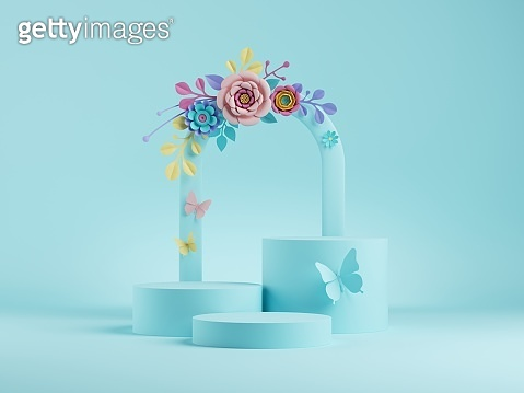 3d render, abstract blue floral background. Botanical arch, frame with colorful paper flowers. Shop product display showcase, empty podium, vacant pedestal, round stage. Blank poster mockup