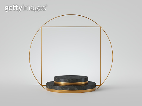 3d rendering of black marble cylinder pedestal with steps isolated on white background, gold square frame, ring, abstract minimal concept, copy space, simple clean design, luxury minimalist mockup