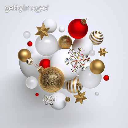 3d Christmas ornaments, red and gold balls, stars and snowflakes levitate. Seasonal festive clip art, isolated on white background. Abstract holiday concept