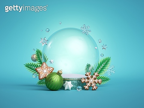 3d render, Christmas empty snowball mockup. Translucent glass sphere. Decorated with fir tree twigs, gingerbread cookies and balls ornaments isolated on blue background