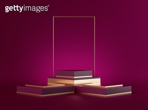 3d render, abstract pink minimal background with golden decor elements. Empty stage, vacant pedestal, fashion podium, showcase stand, product display platform. Premium advertisement blank mockup