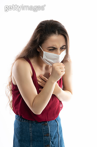 Young women sick with corona virus she is quarantine himself at home