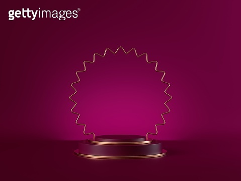3d render, abstract pink modern minimal background. Cylinder podium, vacant pedestal, empty stage, showcase stand, product display platform blank mockup with golden frame. Premium advertisement design