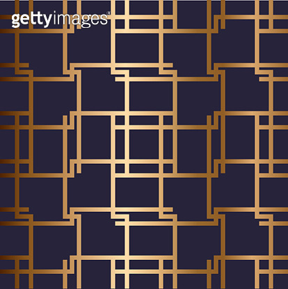 Abstract vector geometric seamless golden pattern with horizontal, vertical crossed stripes.