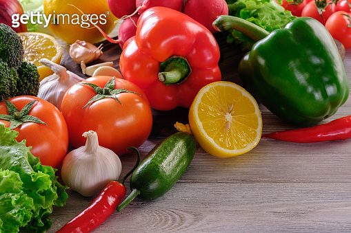 Healthy and wholesome food. Assorted fresh and juicy vegetables