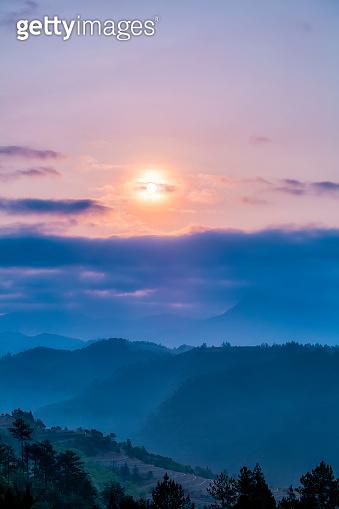 Distant mountain morning mist