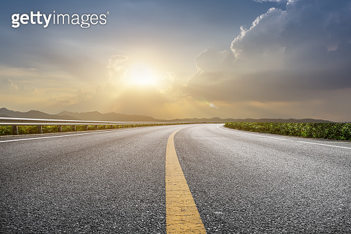 Road surface and natural landscape
